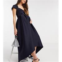 True Violet Maternity - vestito da cerimonia con gonna al polpaccio asimmetrica scollo a cuore e maniche ad aletta blu navy