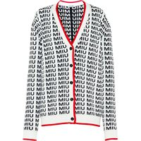 Miu Miu cardigan con bottoni con logo - bianco