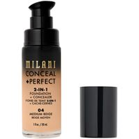 Milani 04 medium beige conceal + perfect 2-in-1 foundation + concealer fondotinta 30ml