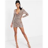 Starlet - vestito corto con scollo ad anello marrone decorato-rosa