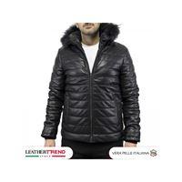 Leather Trend Italy rio - parka uomo in vera di agnello nappa con pelliccia