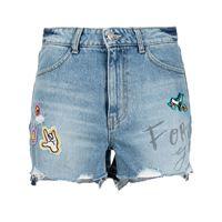 SJYP shorts denim con applicazione - blu