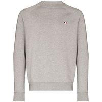 Maison Kitsuné maglione a girocollo con applicazione - grigio