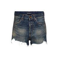Saint Laurent shorts di jeans a vita alta