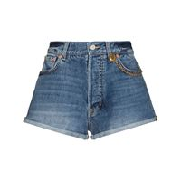 Givenchy shorts denim con catena - blu