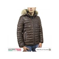 Leather Trend Italy rio - piumino uomo in vera pelle di agnello invecchiata con pelliccia