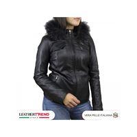 Leather Trend Italy michelina cap - giacca donna in pelle con cappuccio nero