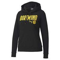 Puma bvb ftblcore wording hoody w pullover da donna, donna, pullover, 758098, puma black-cyber yellow, s