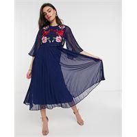 ASOS DESIGN - vestito midi a pieghe a doppio strato blu navy con ricami
