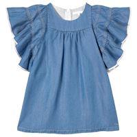 Chloé bambini - bambina - denim frill sleeve vestito blu - 8 anni - blu