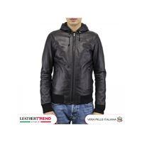 Leather Trend Italy bomber napoli cap. - giubbotto uomo in vera pelle morbida made in