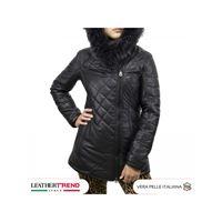 Leather Trend Italy ivette - parka donna in vera pelle di agnello nero morbida