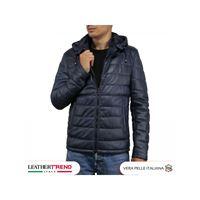 Leather Trend Italy berlino - piumino uomo artigianale in vera pelle blu invecchiato