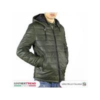Leather Trend Italy berlino - piumino uomo artigianale in vera pelle verde invecchiato