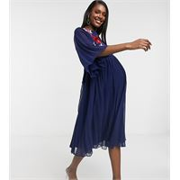 ASOS Maternity asos design maternity - vestito midi a pieghe a doppio strato blu navy con ricami