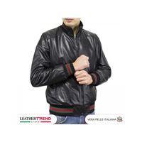 Leather Trend Italy bomber uomo - giacca in pelle di agnello nappa nero morbida special
