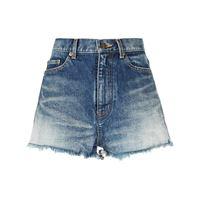 Saint Laurent shorts con vita media - blu