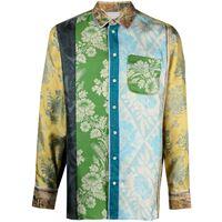 Pierre-Louis Mascia camicia aloe patchwork - blu