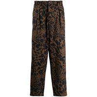 Pierre-Louis Mascia pantaloni con stampa - marrone