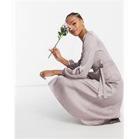 TFNC - vestito midi da damigella in raso grigio a portafoglio con maniche lunghe
