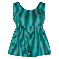 Plan C blusa smanicata a righe - verde