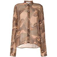 Dion Lee camicia con stampa camouflage - marrone