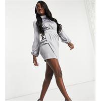 Club L London Tall - vestito corto asimmetrico in raso con maniche a sbuffo, colore ardesia-grigio