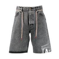 Aries shorts denim con stampa - grigio