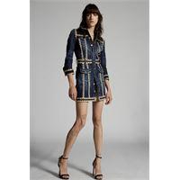 Dsquared2 donna vestito blu scuro taglia 36 98% cotone 2% elastan