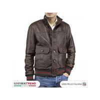 Leather Trend Italy bomber uomo in vera pelle di agnello con bottoni special edition