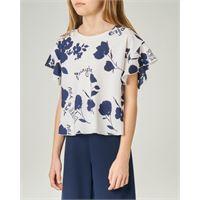 Elsy camicia bianca in crêpe con stampa fiori e scritte blu 40-44