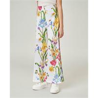 Elsy pantalone bianco a palazzo con stampa floreale 40-44