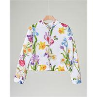 Elsy giacca bianca in fantasia floreale con cappuccio 38