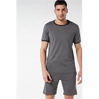 Intimissimi pigiama corto in cotone supima® basic grigio scuro