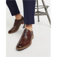 ASOS DESIGN - scarpe stringate in pelle marrone con suola naturale e dettagli colorati