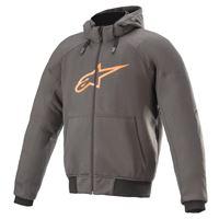 Alpinestars felpa moto Alpinestars chrome sport hoodie con cappuccio grigio catrame arancio fiamma