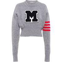Miu Miu maglione corto con applicazione - grigio