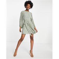 Forever New - vestito corto con maniche voluminose, apertura sul retro e allacciatura in vita verde a fiorellini-multicolore