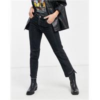 AllSaints - jeans neri bicolori con fondo destrutturato-grigio