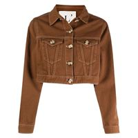 L'Autre Chose giacca denim crop - marrone