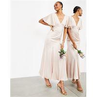 ASOS EDITION - vestito lungo in raso con maniche con volant, colore rosa