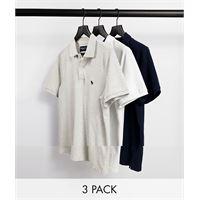 Abercrombie & Fitch - confezione da 3 polo in piqué blu navy/grigio/bianco con logo-multicolore