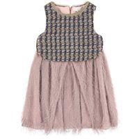 Bleu comme gris - abito in tweed e frange - unisex - 8 anni - rosa
