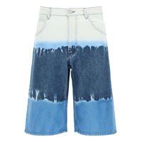 ALBERTA FERRETTI bermuda tie-dye i love summer 38 blu, celeste, bianco cotone, denim
