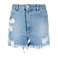 Gcds shorts denim con effetto vissuto - blu