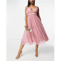 ASOS DESIGN - vestito midi in tulle rosa a pieghe con cintura e spalline sottili