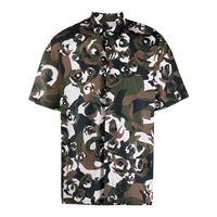 Les Hommes camicia con stampa camouflage - blu