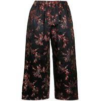 Comme Des Garçons Comme Des Garçons pantaloni a fiori crop - nero