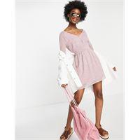Abercrombie & Fitch - vestito con maniche a sbuffo e stampa a fiori rosa