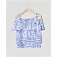 Elsy camicia in cotone a righine azzurre e bianche con spalline e volants 3 anni